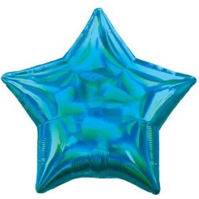 Blue Holographic Star Foil Balloon