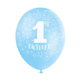 "Blue 1st Birthday Latex Balloons 12"", pk5"