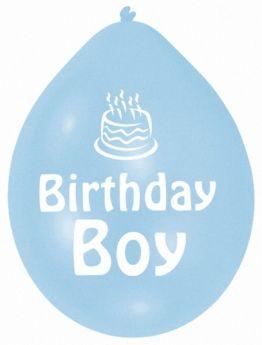 Blue Birthday Boy Latex Balloons Pk10