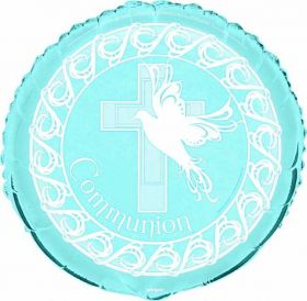 Dove Cross Communion Boy Blue Party Foil Balloon ( Non message)
