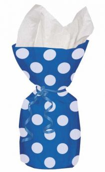 Royal Blue Polka Dot Party Cello Bags 20pk
