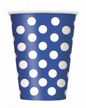 Royal Blue Polka Dot Party Paper Cups 6pk