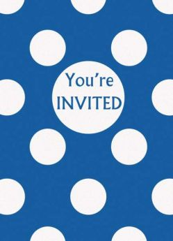Royal Blue Polka Dot Party Invitations 8pk