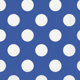 Royal Blue Polka Dot Party Napkins 16pk