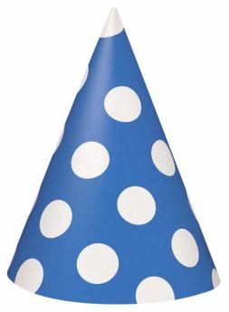 Royal Blue Polka Dot Party Hats 8pk