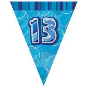Blue Glitz 13 Party Flag Party Banner 9ft