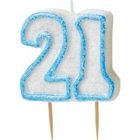 Blue Glitz 21 Party Candle