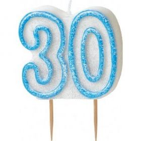 Blue Glitz 30 Party Candle