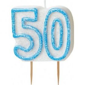 Blue Glitz 50 Party Candle