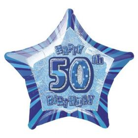 Blue Glitz Star 50 Foil Party Balloon
