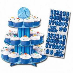 Blue Glitz Party Cupcake Stand