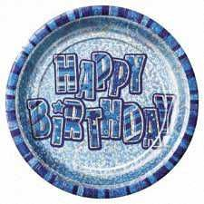 Blue Glitz Prismatic Party Plates 8pk