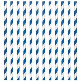 Bright Royal Blue Paper Straws, pk24