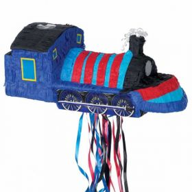 Blue Train Pullstring Party Pinata
