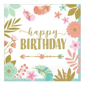 Boho Birthday Girl Luncheon Napkins 33cm, pk16