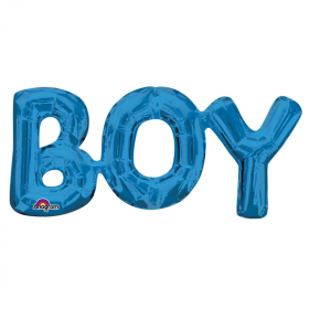 """Boy"" Phrase Blue Foil Balloon 20"""
