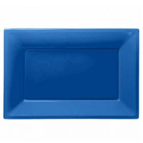 Bright Blue Plastic Serving Trays, pk3