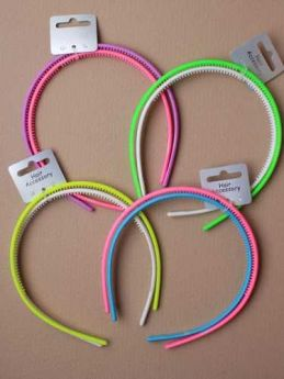 Bright Neon coloured 7mm aliceband, card of 2