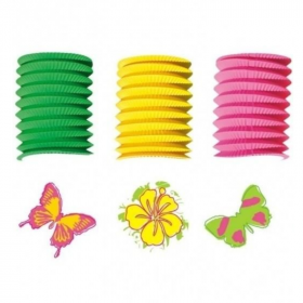 Butterfly and Flowers Paper Lantern Garland