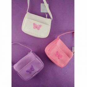 Bright Coloured Purse/handbag with Embroidered Butterfly