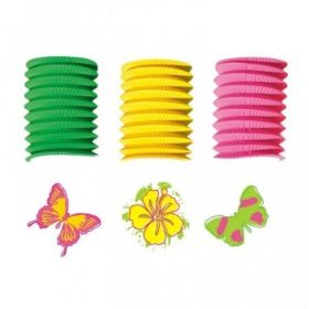 Butterfly and Flowers Paper Party Lantern Garland