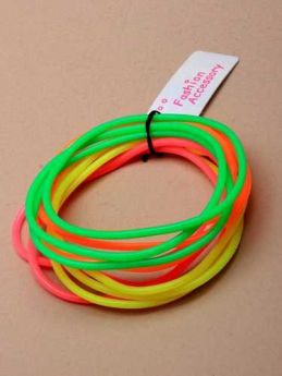 Card of 12 Neon Coloured Gummy Bangles