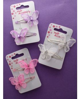 Card of 2 Hair Sleepies with Mesh Butterfly Motif.