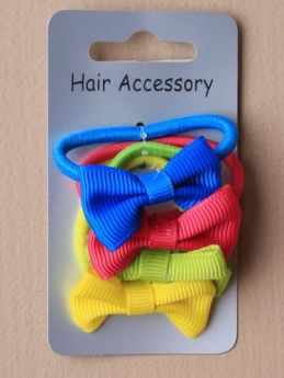 Card Of 4 Bright Coloured Elastics With Fabric Bow Motif