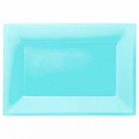 Carribean  Blue Plastic Serving Trays, 3pk