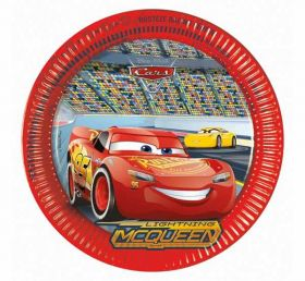 Disney Cars 3 Paper Party Plates 23cms pk8