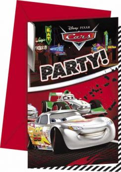 Disney Cars Silver Party Invitations pk6