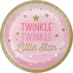 One Little Star - Girl Paper Plates pk8