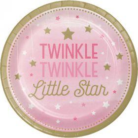 One Little Star - Girl Paper Plates pk8
