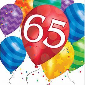 Balloon Blast age 65 Napkins pk16