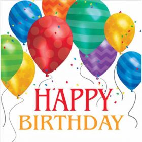 Balloon Blast Happy Birthday Napkins, pk16