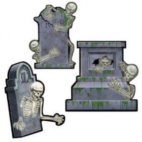 Halloween Cemetery Terror Skull & Tomb Assorted Cutouts 30.5cm