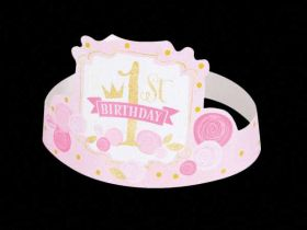 Pink & Gold 1st Birthday Party Hats pk6