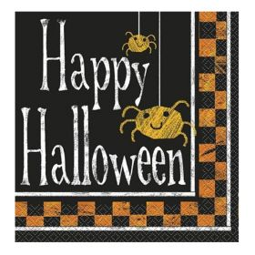 Checkered Halloween Party Napkins 33cm x 33cm, pk16