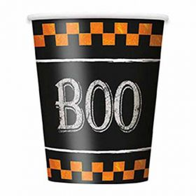 Checkered Halloween Party Cups pk8