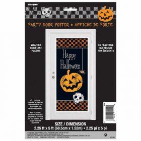 Halloween Checkered Plastic Door Poster