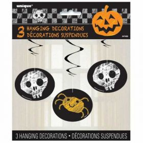 Checkered Hanging Swirl Halloween Party Decoration