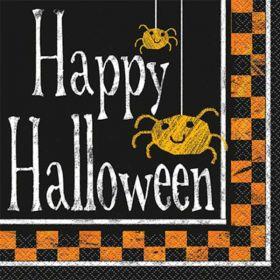 Checkered Halloween Party Napkins, pk16