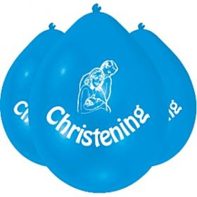 Christening Blue Latex Balloons, 9'' pk10