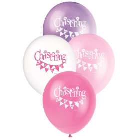 Christening Pink Bunting Latex Balloons 12""