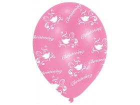 All Round Printed Christening Pink Latex Balloons pk6