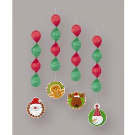 "Christmas Hanging Decorations 18"", pk4"