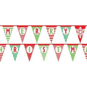 Multi-Patterned Merry Christmas Paper Bunting Flags 4.3m