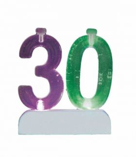 Colour Changing Flashing Candle Holder, Number 30, with 4 Candles
