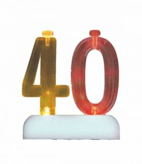 Colour Changing Flashing Candle Holder, Number 40, with 4 Candles