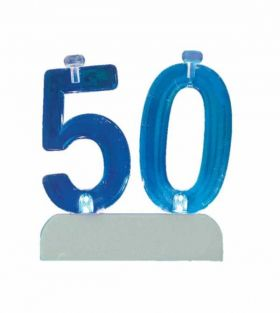 Colour Changing Flashing Candle Holder, Number 50, with 4 Candles